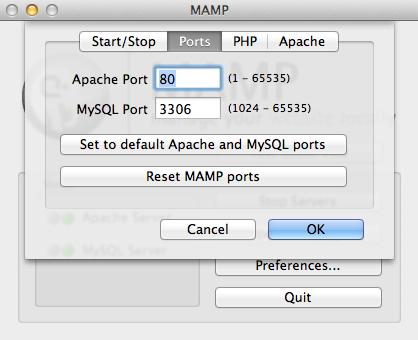 MAMP Ports Setup