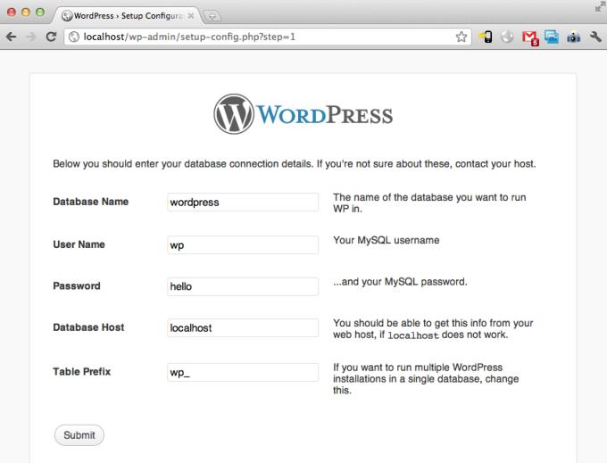 WordPress MAMP Database